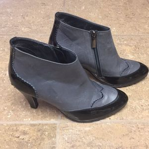Taryn Rose Leather and Black Patent Booties
